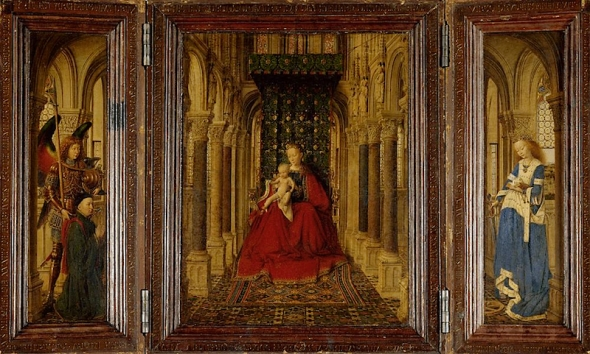 "Jan van Eyck, ""Madonna and Child with Saints Michael and Catherine,"" 1437."