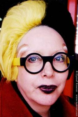 ORLAN, wearing her inner portrait on the outside